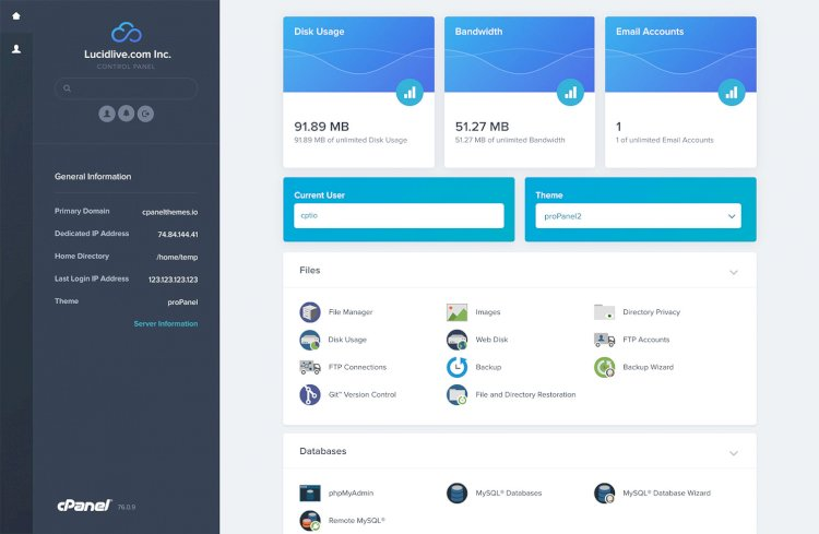 proPanel cPanel Theme Nulled