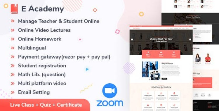 E- Academy v1.2 - Online Learning Management System & live streaming classes (web)
